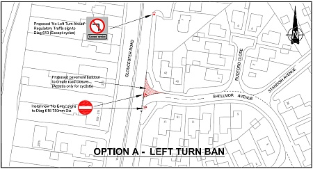 Proposed ban on left turn into Shellmor Avenue, Patchway