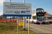 Bus corridor under construction on Highwood Road, Patchway