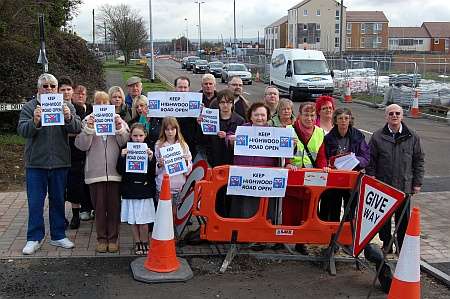 Demonstration against the impending closure of Highwood Road.