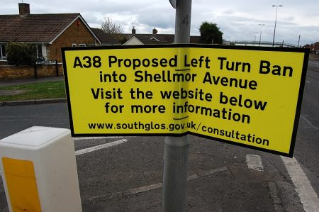 Notice advertising a proposed left-turn ban into Shellmor Avenue.