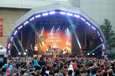 Pixie Lott on stage at the Bristol Jubilee Concert.