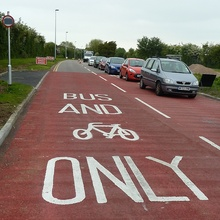 New bus-only lane on Highwood Road, Patchway, Bristol.