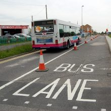 New bus-only lane under construction on Highwood Road, Patchway.