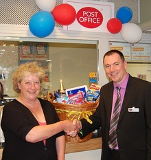 Patchway Post Office first anniversary prize draw presentation.