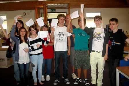 Students at Patchway Community College receive their A-level results.