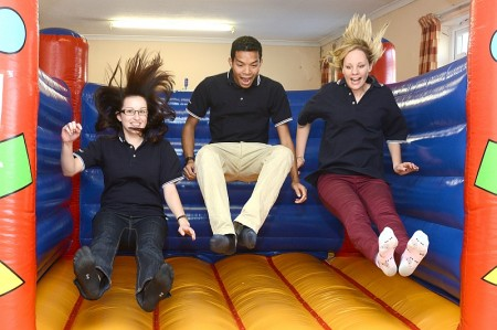 Airbus graduates give the bouncy castle a test run!