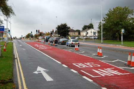 New bus lane in operation on Highwood Road, Patchway.