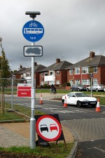 Sign displaying 'bus only' restriction on Highwood Road, Patchway.