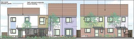 Front elevation of new homes proposed by Solon Housing Association.