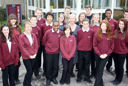Headteacher Jane Millicent and students celebrate the 'good' Ofsted report.
