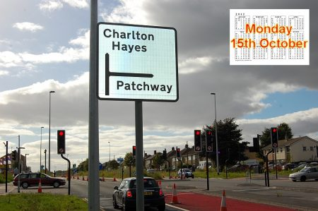 New road sign at junction of Highwood Road, Patchway.