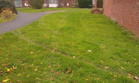 Tyre tracks in grass verge at the end of Bay Tree Close, Patchway, Bristol.
