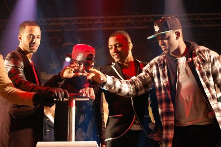 Members of boy band JLS turn on the Christmas Lights at The Mall.