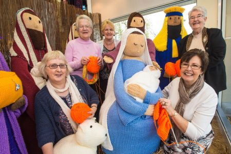 The Knutty Knitters with their Knitivity scene.