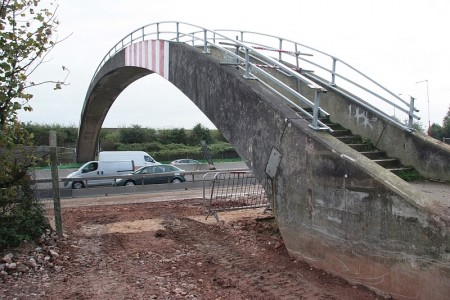 Pegwell Brake footbridge - at the foot of the exposed southbound landing.