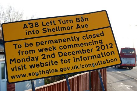 The left-turn into Shellmor Avenue from Gloucester Road is to be closed.