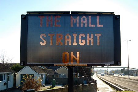 """The Mall straight on"" sign on Gloucester Road, Patchway."