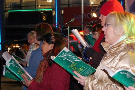 Carols from The Stokes Singers in Bradley Stoke's Town Square.