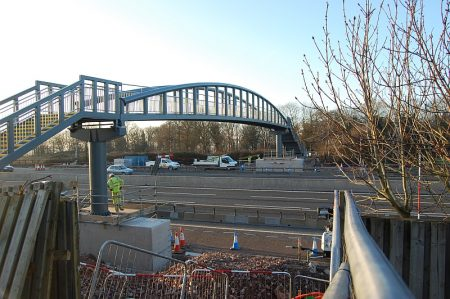 The new Pegwell Brake Footbridge over the M5 motorway.