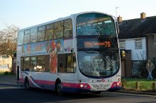 Number 75 bus on Coniston Road, Patchway.