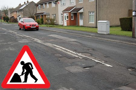 Potholes in Consiton Road, Patchway, Bristol.