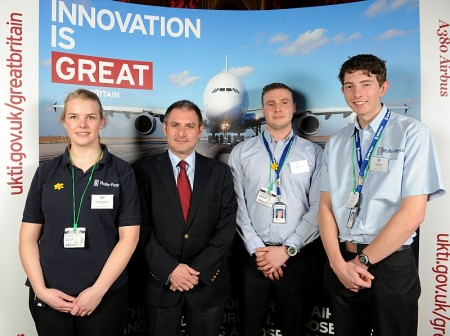 Jack Lopresti with Rolls-Royce apprentices.