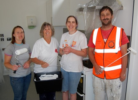 Sainsbury's staff help out at Brooks Cafe, Patchway.