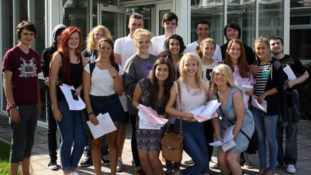 Patchway Community College students celebrate their GCSE results.
