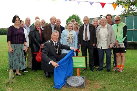 Unveiling of a QE2 Fields in Trust plaque at Scott Park, Patchway.