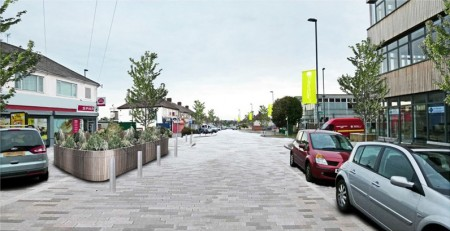 Artist's impression of a regenerated Patchway town centre (Rodway Road).