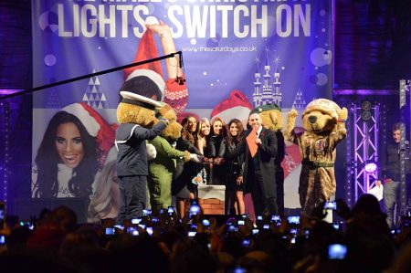 The Saturdays switch on The Mall at Cribbs Causeway's Christmas lights.
