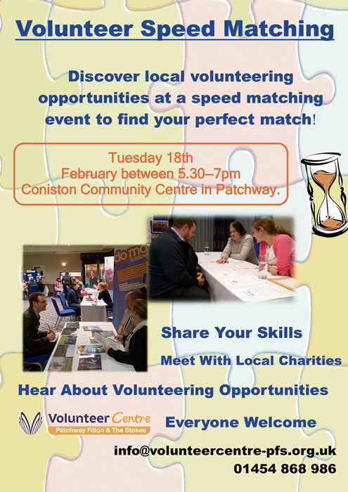 Volunteer Speed Matching event in Patchway on 18th February 2014.