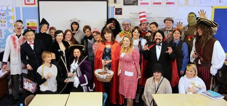 Teachers at Patchway Community College dress up for World Book Day.