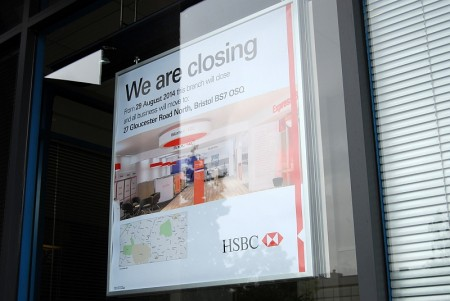 Notice announcing closure of the HSBC branch at Aztec West, Bristol.