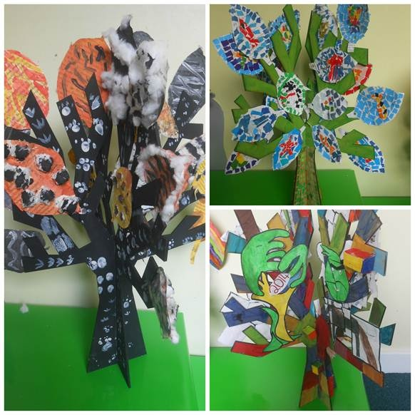 Decorated 'trees' exhibited during the Great Art Hunt in Patchway and Bradley Stoke.