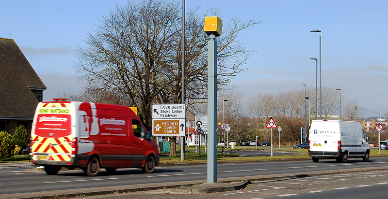 Speed camera on the A38 Gloucester Road (northbound), near Patchway Roundabout.