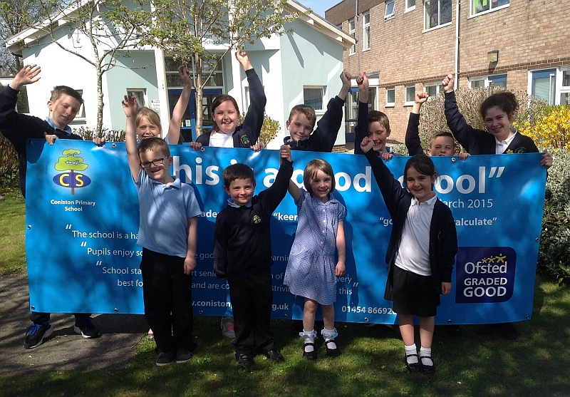 Pupils at Coniston Primary School, Patchway, celebrate the school's 'good' Ofsted report.