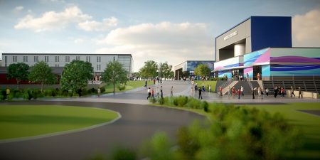 Artist's impression of a proposed new ice rink and skydiving centre at Cribbs Causeway, Bristol.