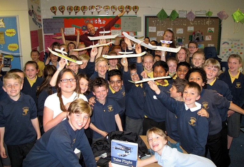 Pupils at Wheatfield Primary School in Bradley Stoke take part in a workshop about flight, as part of the Great Aero Art Hunt project.