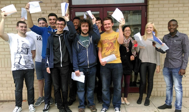 A-level students at Patchway Community College collect their results.