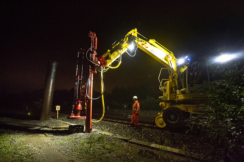 Network Rail piling carried out as part of its electrification work.