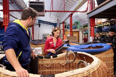 Hannah Cameron at the Cameron Balloons manufacturing warehouse.