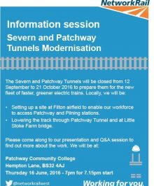 Network Rail information session on the Severn and Patchway Tunnels modernisation.