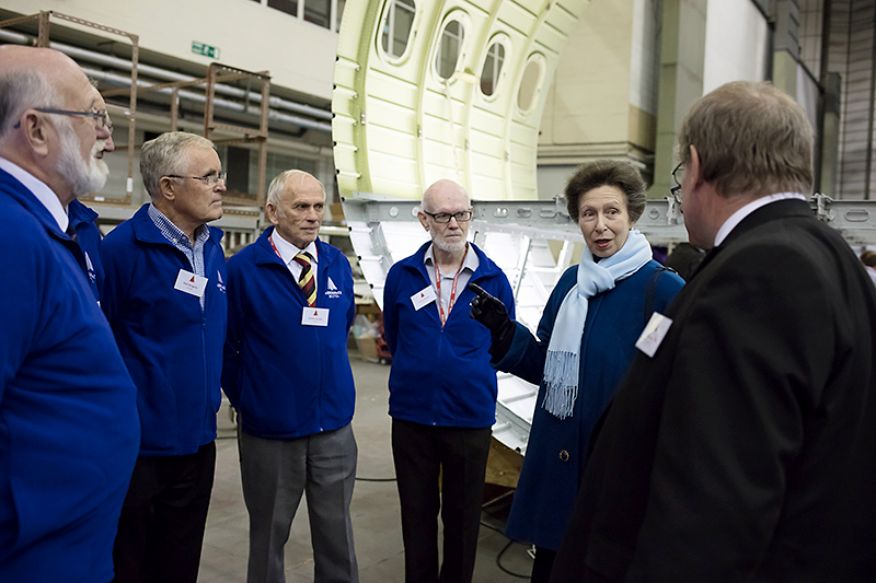 HRH The Princess Royal on a visit to Aerospace Bristol.