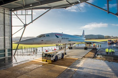 Photo of Concorde 216 entering her new hangar.