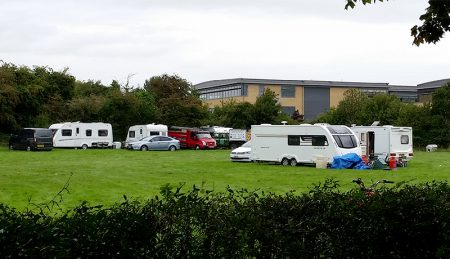 Photo of the traveller encampment at The Tumps.