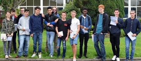 Students at Patchway Community College collect their GCSE results.