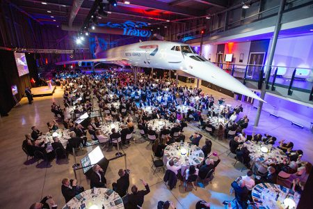 Photo of the Concorde50 gala dinner at which the nose of Concorde was dropped for the first time in 16 years.