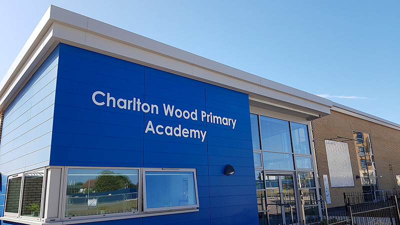 Photo of the exterior of Charlton Wood Primary Academy.