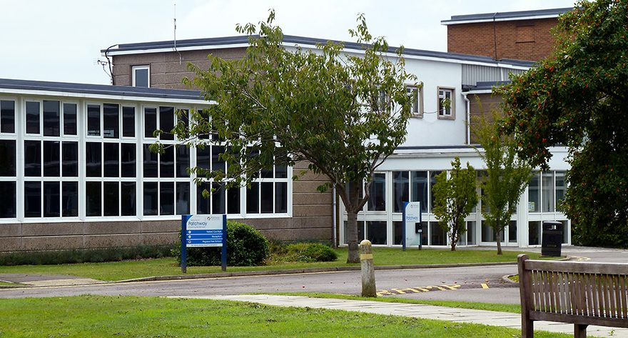 Photo of the main entrance to Patchway Community School.